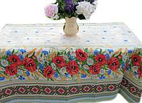 Ткань для скатерти рогожка Полевые цветы