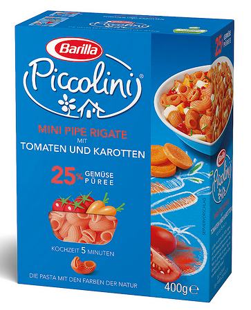 Макароны детские твердых сортов Barilla «Piccolini» mini  Pipe Rigate с помидорами и морковью 250 гр.