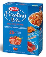 Макароны детские твердых сортов Barilla «Piccolini» mini  Pipe Rigate с помидорами и морковью 250 гр., фото 1