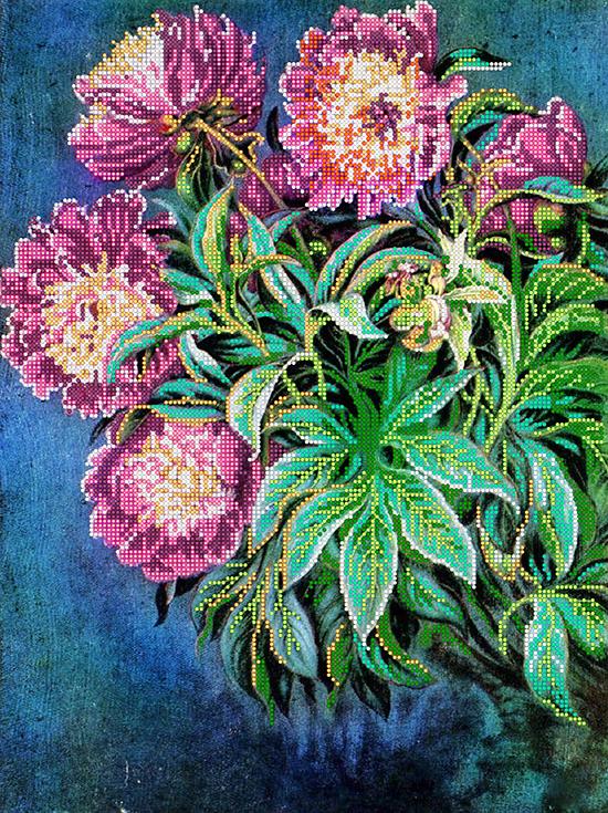 Схема для вышивки бисером POINT ART Садовые цветы, размер 30х40 см