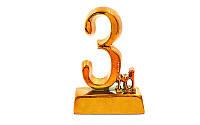 Статуэтка (фигурка) наградная 3-ое место р-р: 9х4,5х14см. C-1699-C4