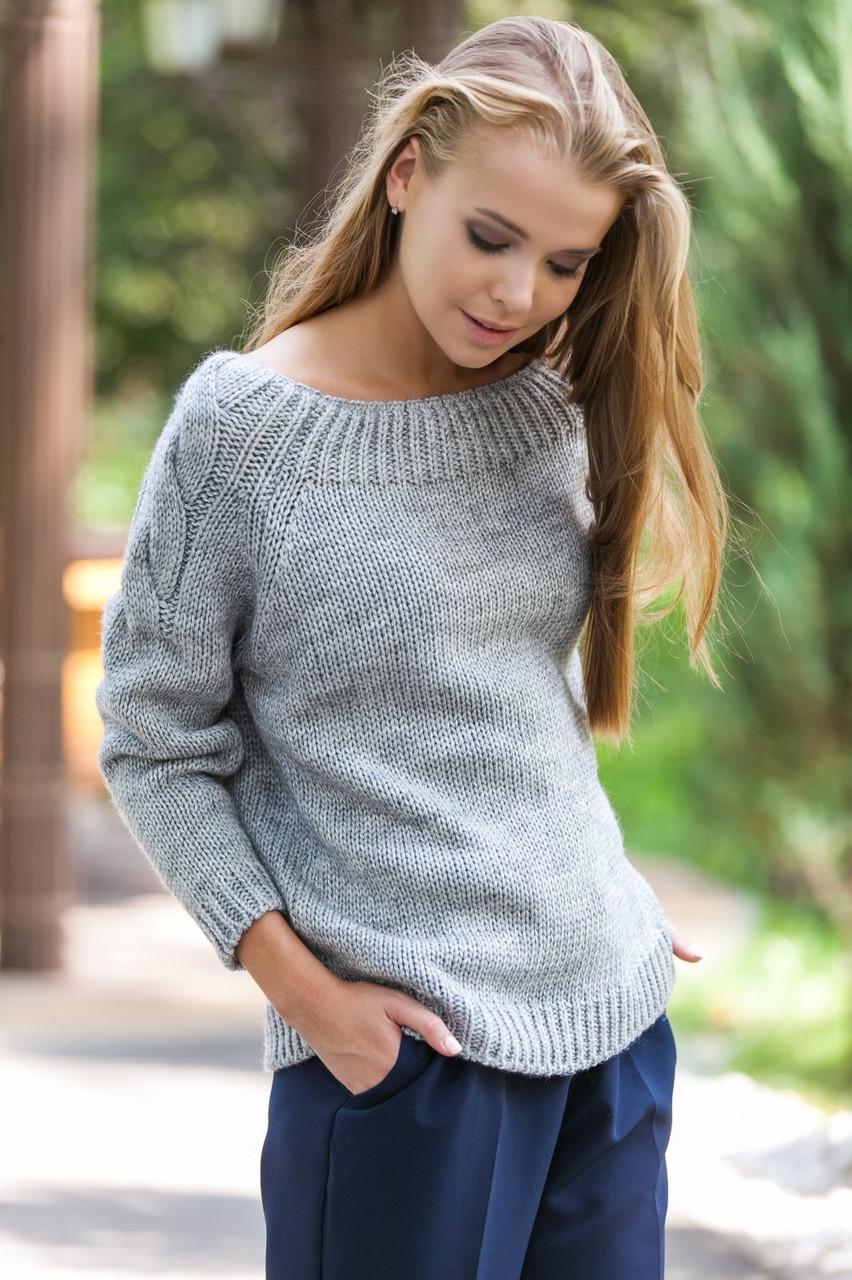 женский модный вязаный серый свитер вязаная одежда р44 46 цена