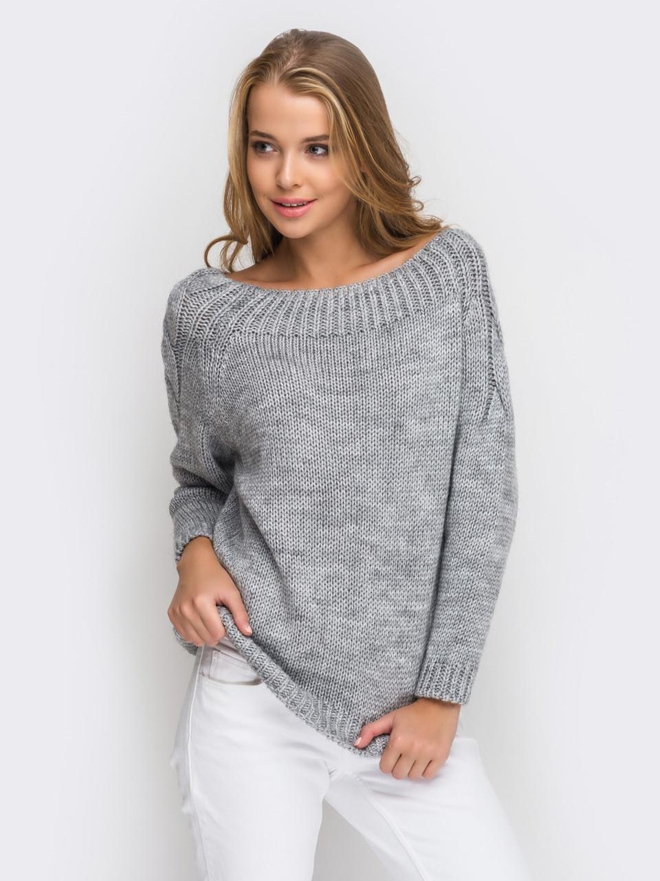женский модный вязаный серый свитер вязаная одежда р44 46 продажа