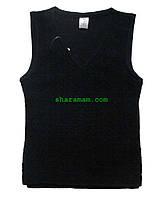 Шерстяной жилет чёрного цвета, рост 122-128 см, фото 1