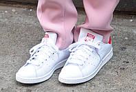 Женские кроссовки Adidas Stan Smith J 'White/Red'