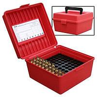 Коробка пластмассовая MTM R-100-MAG на 100 патронов кал. 300 Win Mag; 300 WSM; 338 Win Mag; 444 Marlin; 9,3x62. Цвет – красный.