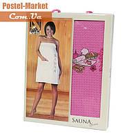 Женское полотенце для сауны вафельное Nilteks розовое