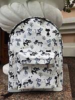 Хлопковый водонепроницаемый рюкзак с котиками, фото 1