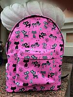 Дизайнерский рюкзак водонепроницаемый розовый с котиками, фото 1