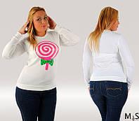 Трикотажная женская кофточка большого размера накат Леденец белая