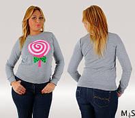 Трикотажная женская кофточка большого размера накат Леденец серая меланж