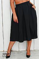 Юбка женская большой размер ниже колена расклешенная черная