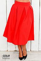 Юбка женская большой размер ниже колена расклешенная красная