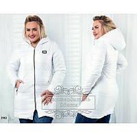 Куртка с капюшоном  удлиненная женская батал белый