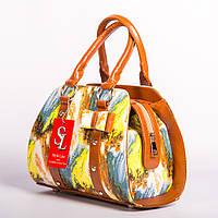 Разноцветная сумочка №1339yellow лаковая женская коричневая