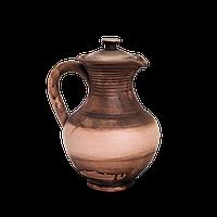 Кувшин глиняный с крышкой Этно EB02 Покутская керамика 0,25 литра