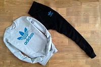 Спортивный костюм адидас, синий логотип, серый верх черный низ, ф669