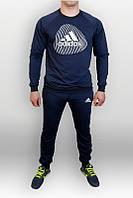 Спортивный костюм адидас отпечаток, синий цвет, прикольный,  ф698
