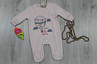 Детский костюм человечек на девочку длинный рукав, материал велюр, возраст, 2м,3м, 6м тм BONNE BABY  Турция