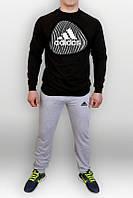 Спортивный костюм Adidas отпечаток, черный верх, серый низ, ф715