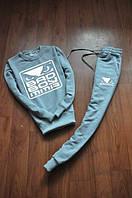 Спортивный костюм bad bo, серый цвет, белый принт, ф739