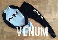 Спортивный костюм Venum серое туловище, черные рукава и штаны, ф747