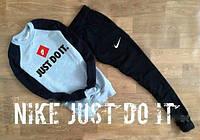 Спортивный костюм Nike черо-черный, модный принт, ф2613