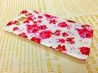 TPU чехол для Samsung J710F Galaxy J7 2016(самсунг гэлэкси джи 7 2016) Розовые цветы