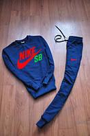 Спортивный костюм найк синий, трикотажный, ф2651
