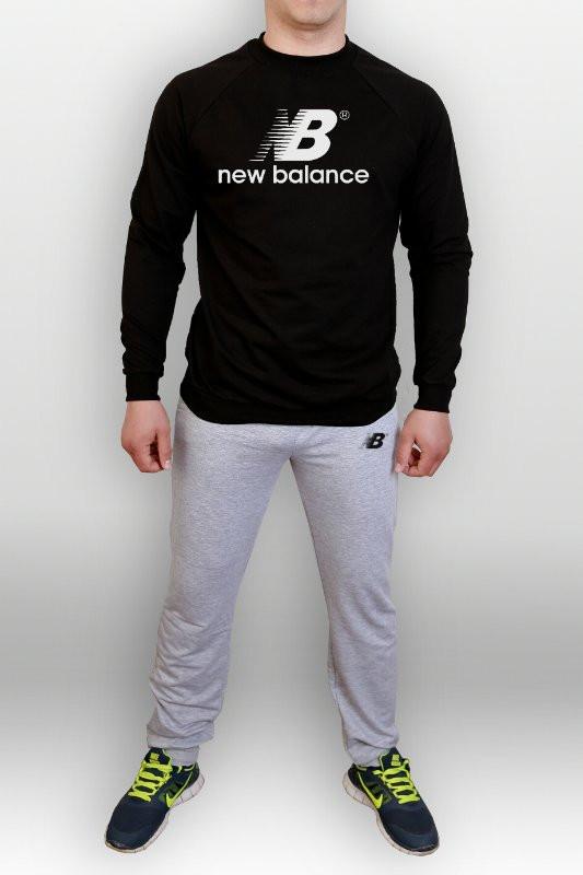 Спортивный костюм New balance, черный верх, серый низ, ф2708 - Футбольный  супермаркет