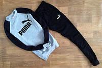 Спортивный костюм пума, серое туловище, черные рукава и черные штаны, ф2716