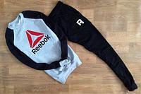 Спортивный костюм рибок кросфит, серое туловище, черные рукава и штаны, ф2748