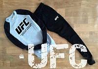 Спортивный костюм UFC серое туловище, черные рукава и штаны, ф2841