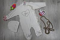 Детский костюм человечек на девочку  длинный рукав, материал велюр, возраст, 3м, 6м тм FLEXI Турция