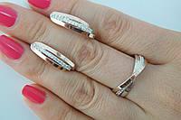Женский гарнитур с переплетением из серебра с цирконами и золотом