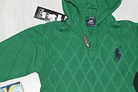 Вязаная кофта с капюшоном зеленого цвета на мальчика, тм RALPH LAUREN, возраст 5-9 лет, Турция рост