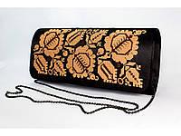 Женский вышитый клатч «Елегантність» коричнево-кофейный, фото 1
