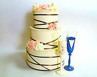Сундучок Торт свадебный для денег Розовый