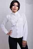 Классическая Белая Блуза Воротник Стойка Кружево Ручной Работы XS-XL