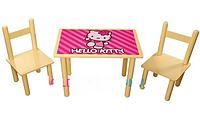 "Столик со стульчиками детский деревянный ""HELLO KITTY"" Bambi F061"