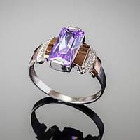 Женское кольцо из серебра 925 пробы с золотом и цирконом цвета лаванды