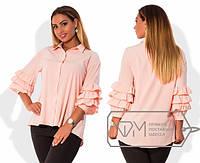 Батальная женская блуза с воланами из вискозы