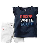 Комплект Carter's футболка+шортики для девочек