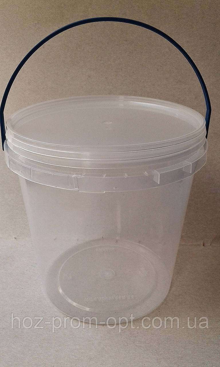 Ведро круглое с крышкой и синей ручкой. 1 л. Размер: d129х120 мм.