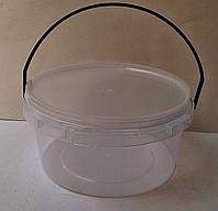Ведро круглое с крышкой. 0,5 л. Размер: d132х69 мм.
