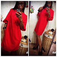 Платье женское свободного кроя ,в красном цвете