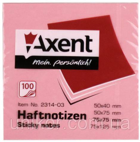 Блок post-it 75*75 мм, 100 листов, пастельный красный. AXENT
