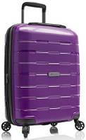 Вместительный замечательный пластиковый 4-колесный чемодан 38 л. Heys Zeus (S) Purple, 923054 фиолетовый