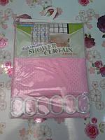 Штора для ванной комнаты однотонная тканевая розовая