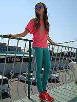 Спортивные брюки Adidas лосины бирюза эластик